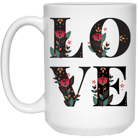 Floral Love 15 oz. White Mug