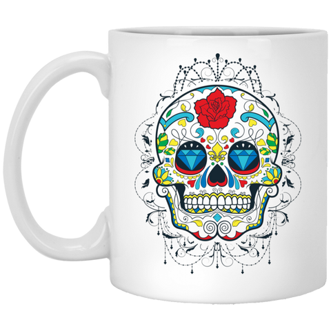 Sugar Skull 11 oz. White Mug
