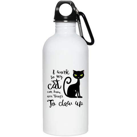 I work so my cat... 20 oz. Stainless Steel Water Bottle - Sweet Dragon Mama