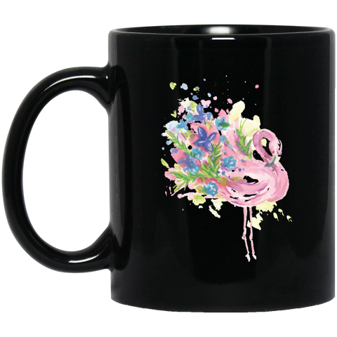 Floral Flamingo Black Mug