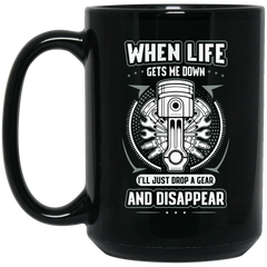 Drop a Gear 15 oz. Black Mug