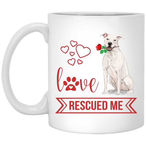 Love Rescued Me- Staff Bull Terrier 11 oz. White Mug