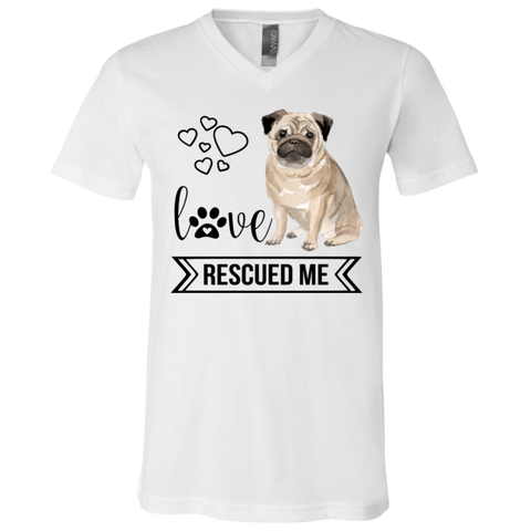 Pug Love Rescued Me White 3005 Bella + Canvas V-Neck T-Shirt