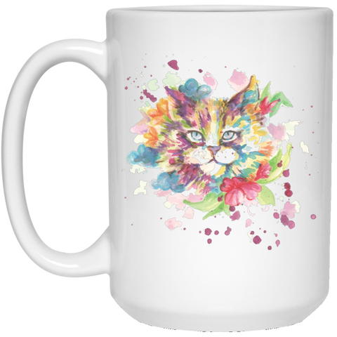 Flower Cat White Mugs