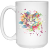 Image of Flower Cat White Mugs - Sweet Dragon Mama