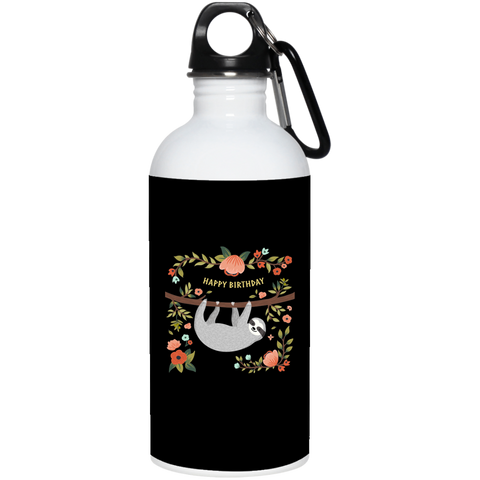 Sloth Happy Birthday 20 oz. Stainless Steel Water Bottle - Sweet Dragon Mama