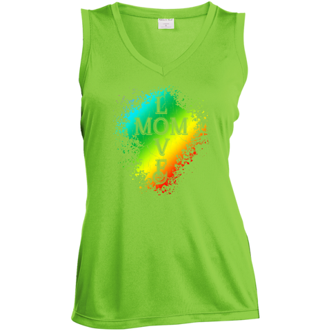 Love Mom-Sport-Tek Ladies' Sleeveless V-Neck