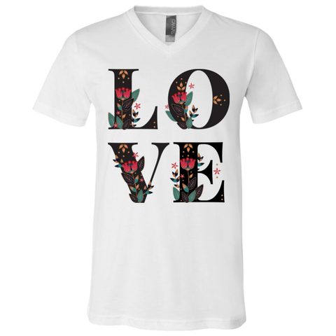 Floral Love 3005 Bella + Canvas Unisex Jersey SS V-Neck T-Shirt