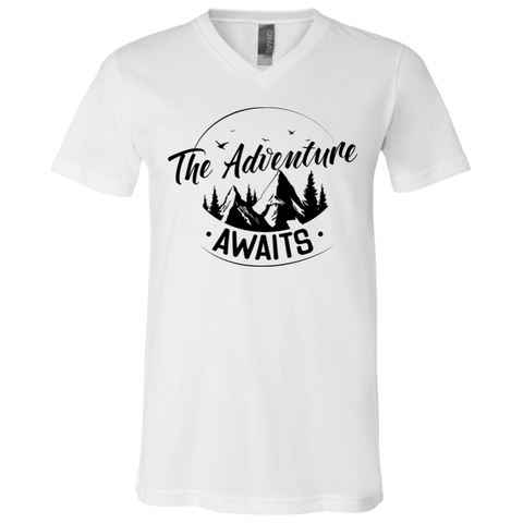 The Adventure Awaits White V-Neck T-Shirt - Sweet Dragon Mama