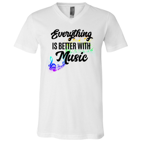 Everything Better with Music 3005 Bella + Canvas Unisex Jersey SS V-Neck T-Shirt