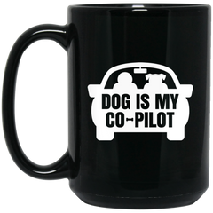 Dog is My Co Pilot 15 oz. Black Mug