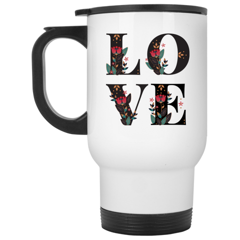 Floral Love White Travel Mug