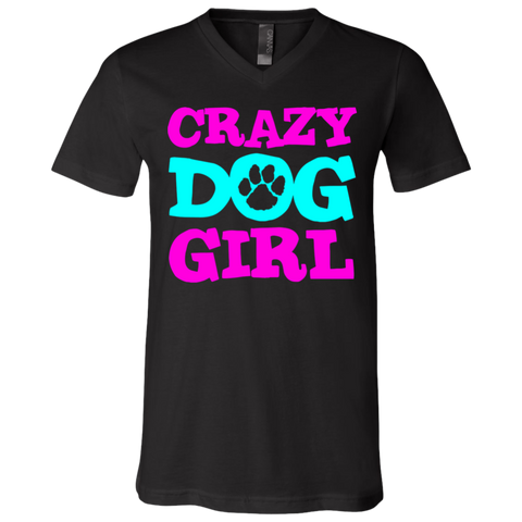 Crazy Dog Girl 3005 Bella + Canvas Unisex Jersey SS V-Neck T-Shirt