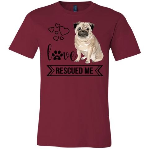 Pug Love Rescued Me 3001C Bella + Canvas Unisex Jersey Short-Sleeve T-Shirt