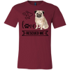 Image of Pug Love Rescued Me 3001C Bella + Canvas Unisex Jersey Short-Sleeve T-Shirt