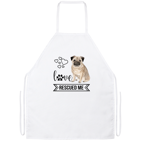 Pug Love Rescued Me Apron