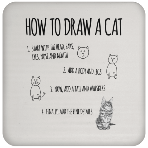 How to Draw a Cat Coaster