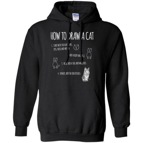 How to Draw Cat Gildan Pullover Hoodie 8 oz.