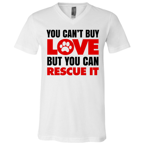 You Can't Buy Love White V-Neck T-Shirt