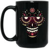 Image of Smiling Sugar Skull Black Mugs