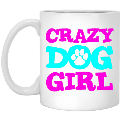 Crazy Dog Girl 11 oz. White Mug