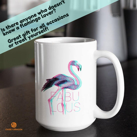 Fabulous Flamingo White Mugs