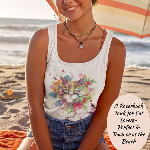 Flower Cat Next Level Ladies Ideal Racerback Tank