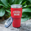 "Image of ""The Force is Strong With This Mom"" Red Polar Camel 30 oz. Ringneck Vacuum Insulated Stainless Steel Tumbler w/Lid & Steel Ring Our family can't get enough of these! Premium Laser Etched Tumbler: . Ideal for Hot & Cold beverages. A great gift for Mother's Day, Birthday, Christmas, family occasions, vacations, beach, pool or travel. Or just because you want one. Great temperature retention: Keeps your beverage COLD for up to 48 hours and HOT for up to 12 hours."