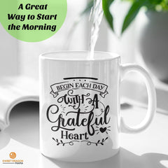 """Begin Each Day with a Grateful Heart""  A great way to start the morning and a wonderful support for any gratitude practice. 11 oz volume capacity High-quality white ceramic mug Microwave and dishwasher safe Measures 3.75"" tall #gratitude #grateful heart #inspirational coffee mug"