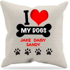 """I Love My Dogs"" Pillow, personalized"