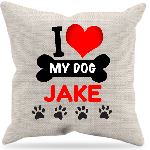 """I Love My Dog"" Pillow, Personalized"