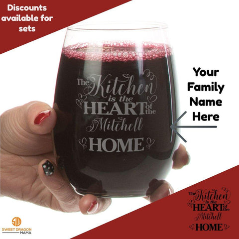 Kitchen Heart of Home Custom Stemless Wine Glass