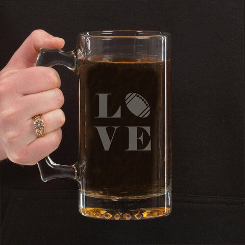 Football Lover's Beer Mug Laser Etched - Sweet Dragon Mama