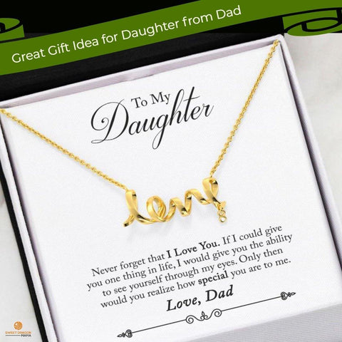 "To My Daughter: ""Never forget that I love you. If I could give you one thing in life, I would give you the ability to see yourself through my eyes. Only then would you realize how special you are to me.""  This dainty polished necklace leaves no doubt in her mind about your true feelings. Created in cool surgical steel, this adorable design spells out the word ""love"" in a playful cursive font. Embellished with a Cubic Zirconia attachment"