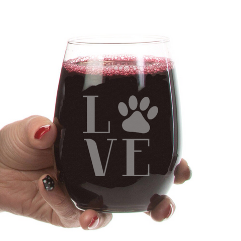 Stemless Wine Glass- 21oz Love Paw