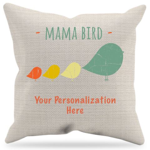 Mama Bird Personalized Pillow Case + Insert
