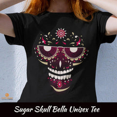Maroon Sugar Skull Bella Unisex Short-Sleeve T-Shirt