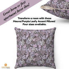 mauve/purple leafy accent pillow dorm room ideas first apartment zippered pillow includes insert four sizes