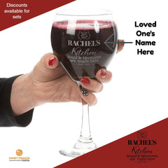 Personalize red wine glass meals and Memories made here