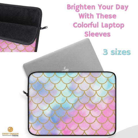 Mermaid Memories Laptop Sleeve Carry your laptop with a style! This high quality sleeve is available in three sizes, to protect laptop from scratches and minor impacts. Printed on one side with black rear, edging and zip it's an elegant and stylish companion from day to day.    .: 100% Polyester .: Top loading zipper .: Black polyester back .: Lightweight