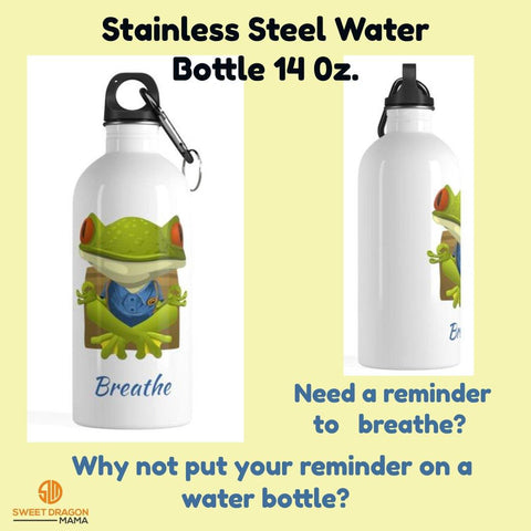 "White Stainless Steel Water Bottle with Frog in Meditation and the words ""Breathe"" in Blue"