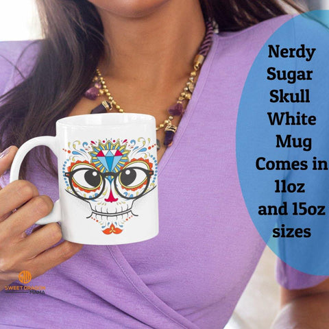 Nerdy Sugar Skull White Mugs