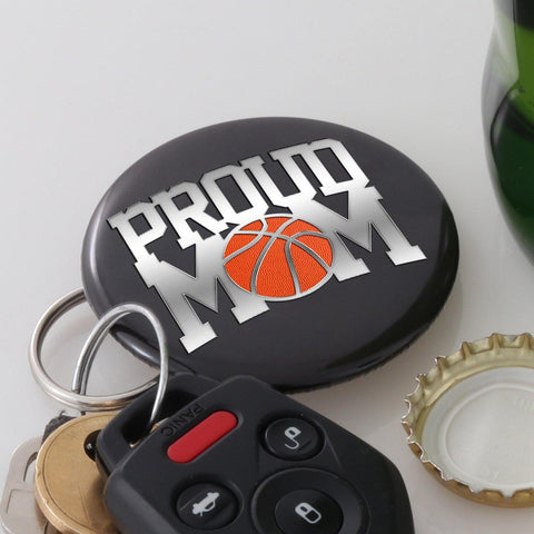 Proud Basketball Mom Magnetic KeyRing BottleCap Opener