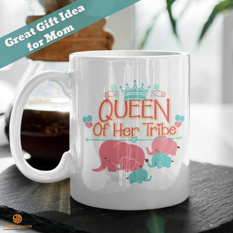 "Queen of Her Tribe White Coffee Mug 11 oz volume capacity High-quality white ceramic mug Microwave and dishwasher safe Measures 3.75"" tall"