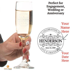 personalized champagne flute with round vintage seal perfect for engagement wedding or anniversary celebration or gift
