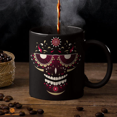 Smiling Sugar Skull Black Mugs