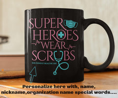 "Superheroes Wear Scrubs Coffee Mug with Personalization 11 oz volume capacity High-quality black ceramic mug Microwave and dishwasher safe Measures 3.75"" tall"