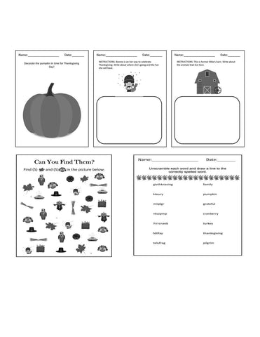 Thanksgiving Activity Worksheets for Kids-Printable