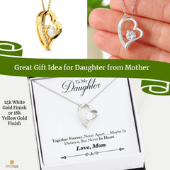 Forever love Necklace  yellow gold or white gold heart with Zirconium Mother to Daughter