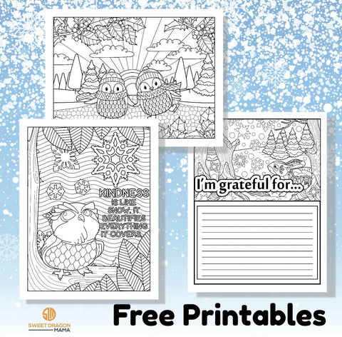 "A sampler of free winter printables for the whole family-5 coloring pages with a range of difficulty and a gratitude page. A cute owl with an inspirational quote ""Kindness is like snow it beautifies everything it covers"" . Snowflakes with the quote "" A snowflake is one of God's most fragile creations, but look what they can do when they stick together""  Six pages in all. You receive a zipped PDF file that prints a letter size size page at high resolution ."
